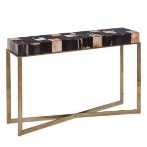 Consola aurie/neagra din lemn si metal 128 cm Chambly Denzzo