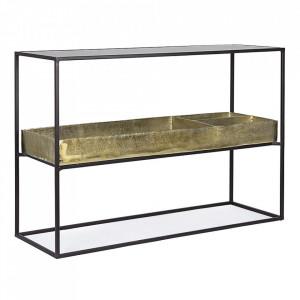 Consola neagra/aramie din sticla si metal 117 cm Mavila Bizzotto