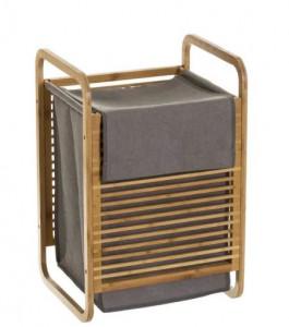 Cos maro/gri din lemn si poliester pentru rufe 40,5x60,5 cm Alison Unimasa