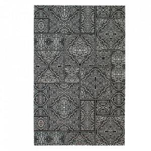 Covor alb/negru din poliester si bumbac 155x230 cm Renna Woood