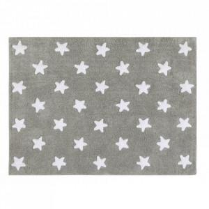 Covor dreptunghiular gri/alb din bumbac pentru copii 120x160 cm Stars Grey White Lorena Canals