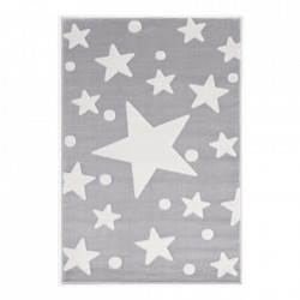 Covor gri argintiu/alb din polipropilena si iuta Estrella Velour Happy Rugs (diverse dimensiuni)
