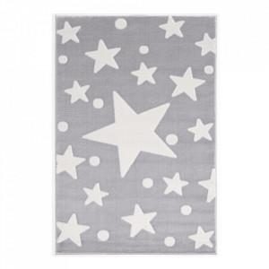 Covor gri argintiu/alb din polipropilena si iuta Estrella Velour Livone (diverse dimensiuni)