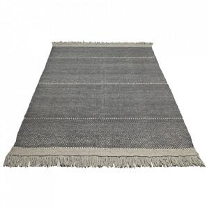 Covor gri carbune din lana si poliester 140x200 cm Siggo Bolia