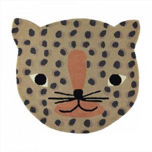 Covor multicolor din lana si bumbac 84x94 cm Leopard Oyoy