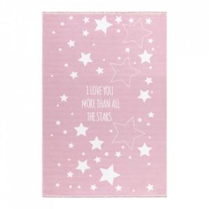 Covor roz/alb din poliester Love You Stars Rosa Happy Rugs (diverse dimensiuni)