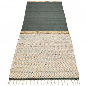 Covor verde din lana si iuta 80x250 cm Hawes Bolia