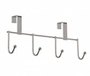 Cuier pentru usa argintiu din metal cu 4 agatatori Wenko