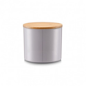 Cutie cu capac gri/maro din metal si lemn Trey Zeller