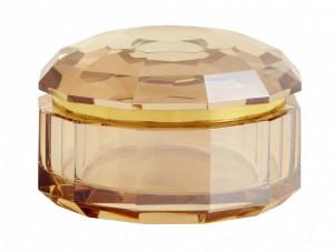 Cutie cu capac maro din sticla pentru bijuterii Crysta Amber Nordal
