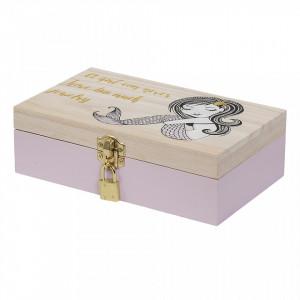 Cutie cu capac maro/roz din lemn de paulownia pentru bijuterii Jewa Bloomingville Mini