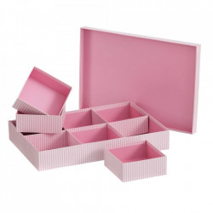 Cutie cu capac si 6 compartimente roz din carton Lines Unimasa