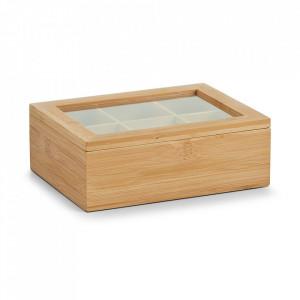 Cutie maro/transparenta din lemn si plastic acrilic pentru ceaiuri Tea Bag Zeller