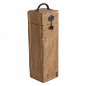 Cutie pentru sticla de vin maro din lemn de tec Elements Raw Materials