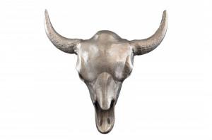 Decoratiune argintie din aluminiu pentru perete 56x60 cm Matador Skull Invicta Interior