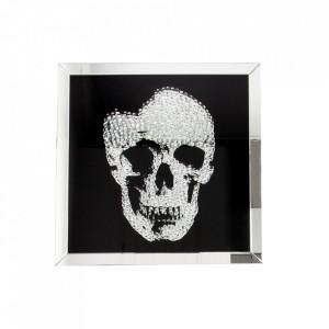 Decoratiune argintie/neagra din MDF si oglinda 100 cm Skull Invicta Interior