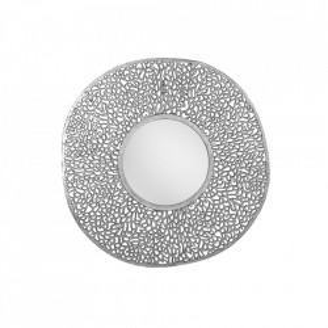Decoratiune cu oglinda argintie din aluminiu pentru perete 112 cm Leaf Invicta Interior