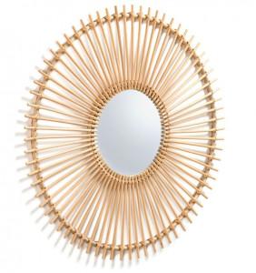 Decoratiune cu oglinda maro din ratan pentru perete 81 cm Louisa Kave Home