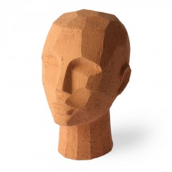 Decoratiune maro din teracota 18x25 cm Abstract Head Sculpture HK Living