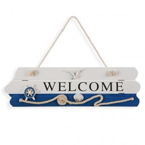 Decoratiune multicolora din lemn pentru perete 15x40 cm Welcome Sign Versa Home