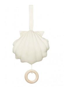 Decoratiune muzicala suspendabila din bumbac pentru copii Sea Shell Creme White Cam Cam