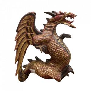 Decoratiune rosie/aurie din lemn 21 cm Dragon Versmissen