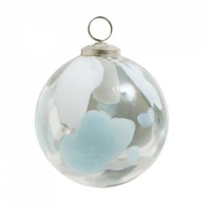 Decoratiune suspendabila alba/albastra din sticla Akona L Nordal