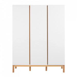 Dulap alb/maro din MDF si lemn 198 cm Indigo Three Quax