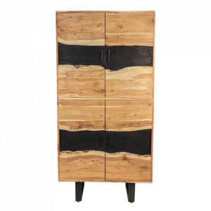 Dulap maro/negru din lemn si fier 180 cm Vienna HSM Collection