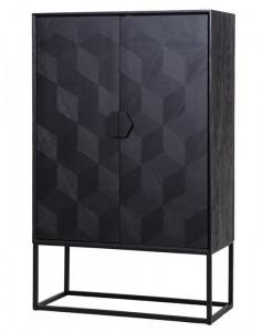 Dulap negru din lemn si fier 175 cm Blax Richmond Interiors