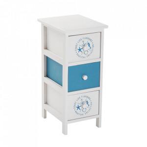 Dulapior alb/albastru din lemn Nautical Mini Versa Home