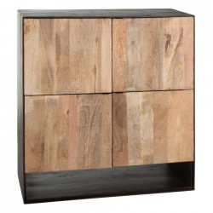 Dulapior negru/maro din lemn Natural Ixia