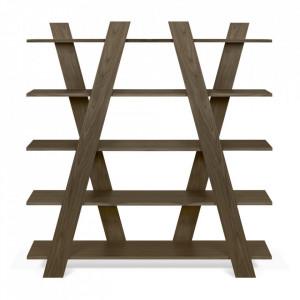 Etajera maro inchis din lemn de nuc 160 cm Wind TemaHome