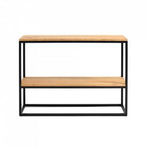Etajera neagra/maro din lemn si metal 75 cm Julita Custom Form