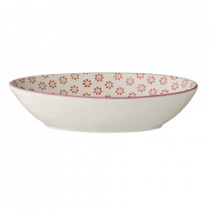 Farfurie adanca alba/rosie din ceramica 15x23 cm Susie Bloomingville