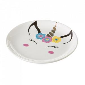 Farfurie intinsa alba/multicolora din ceramica 22 cm Magical Unimasa