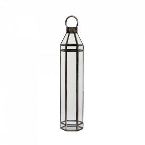 Felinar gri/transparent din fier si sticla 66 cm Alana LifeStyle Home Collection