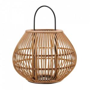 Felinar maro din bambus si fier 46 cm Striped Pols Potten