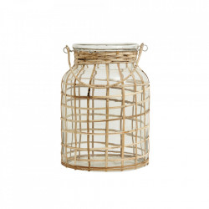 Felinar transparent/maro din sticla si bambus 27 cm Bamboo Candle Large Nordal