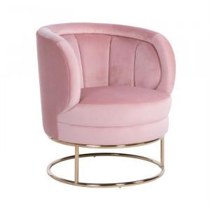 Fotoliu roz/auriu din catifea si inox Felicia Richmond Interiors