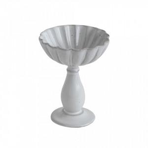Fructiera alba din teracota Pedestal Creative Collection