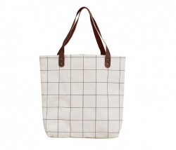 Geanta alba din textil Shopper Doctor House