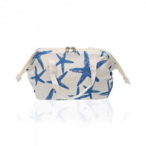 Geanta crem/albastra din poliester pentru cosmetice 15x22,5 cm Blue Sea Bag Versa Home