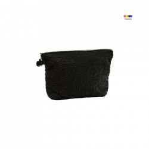 Geanta neagra din in si bumbac 16x25 cm pentru cosmetice Embroidered Bag Black Mini Madam Stoltz