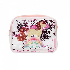 Geanta pentru cosmetice multicolora din PVC Glitter Horse A Little Lovely Company