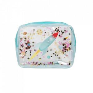 Geanta pentru cosmetice multicolora din PVC Glitter Space A Little Lovely Company