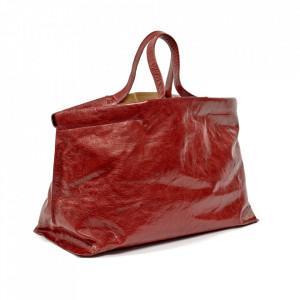 Geanta rosie din piele Shopper XL Serax