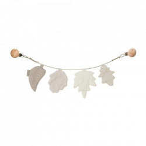 Ghirlanda decorativa multicolora din bumbac organic Pram Leaves Mix Natural Cam Cam