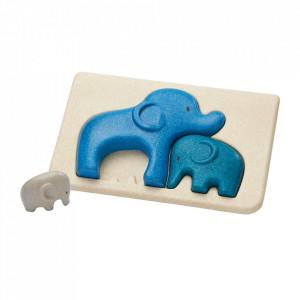 Joc tip puzzle multicolor din lemn Elephant Plan Toys