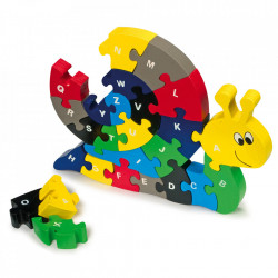 Joc tip puzzle multicolor din lemn Snail Small Foot